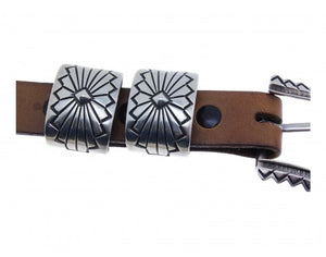 "Allison Snowhawk Lee, Navajo Sterling Silver Ranger Buckle, 3/4"" Belt, 4 Pieces"