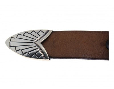 "Load image into Gallery viewer, Allison Snowhawk Lee, Navajo Sterling Silver Ranger Buckle, 3/4"" Belt, 4 Pieces"