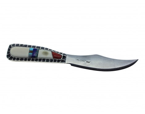 Monty Claw, Stainless Steel Blade, Tufa Cast Silver Handle, Multi-Stone, Navajo