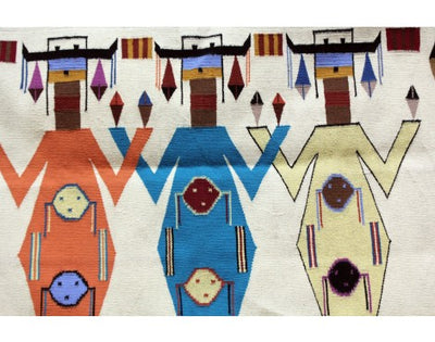 "Load image into Gallery viewer, Winona Joe, Mother Earth Father Sky Rug, Navajo Wool,  42""x56"""