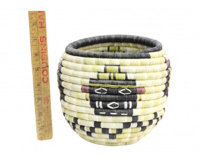 "Load image into Gallery viewer, Irene Lomayaktewa (interview), Hopi Coil Basket, Mudheads w/ Kachina Head, 8 1/4"" x 6 1/2"""
