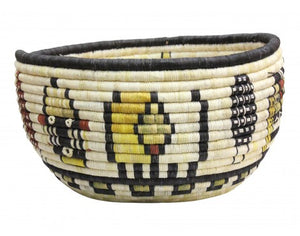 "Gladys Kagenveama, Hopi Coil Basket, Kachina Faces, 13"" x 7"""