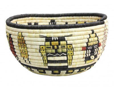 "Load image into Gallery viewer, Gladys Kagenveama, Hopi Coil Basket, Kachina Faces, 13"" x 7"""