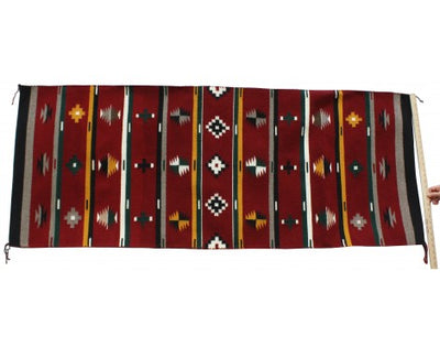 "Load image into Gallery viewer, Marlene White, New German Town, Navajo Wool Handmade Weaving, 106""x 56"""