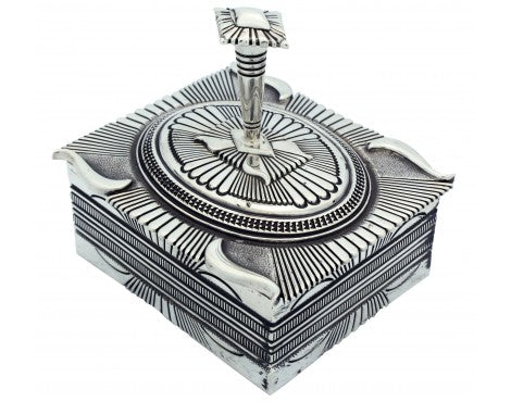 Ron Bedonie, Stamped Silver Box with Lid, Navajo, 3 in