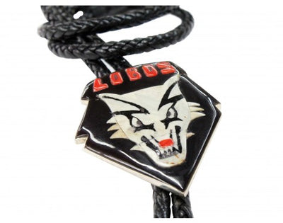 Load image into Gallery viewer, Bobby Concho, Bolo, Lobo Design, Leather Cord, Silver Tips, Zuni