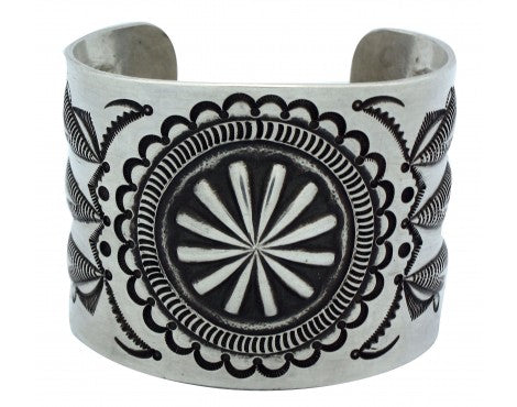 Edison Sandy Smith, Repouss̩ Stamped Silver Cuff, Navajo, 7 in