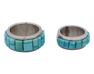 Load image into Gallery viewer, Calvin Desson, Sky Blue Kingman Turquoise Wedding Set, Sterling, Navajo