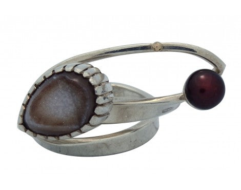 Fritz Casuse, Silver Wire Wrapped Ring with Agate, Maroon Pearl, 7