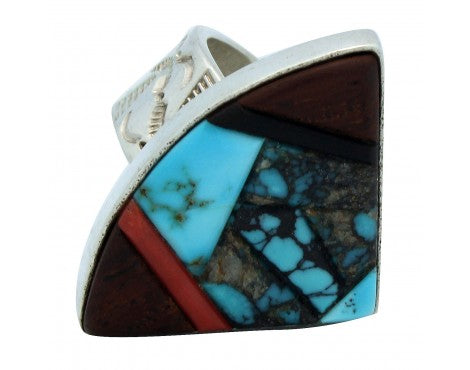 Monty Claw, Turquoise, Iron Wood, Coral Inlay Sterlin Ring, Navajo, 10.5