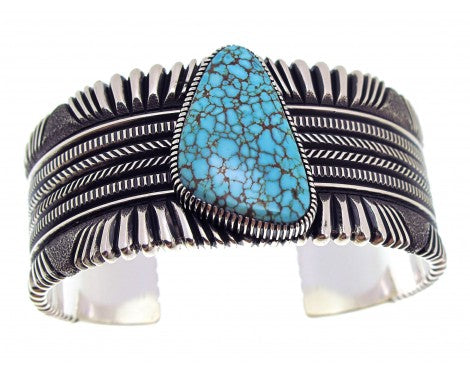 Ron Bedonie, Number Eight Turquoise, Filed, Stamped Silver, Navajo