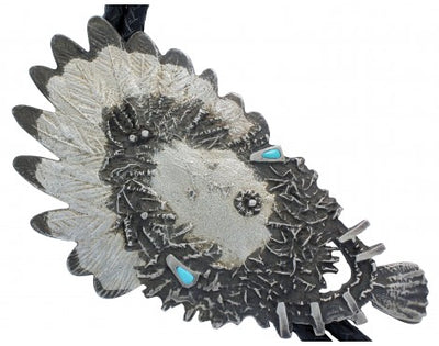 Load image into Gallery viewer, Oreland Joe, Tufa Cast Silver with Turquoise, Yei Bolo, Navajo Handwoven, 26 in