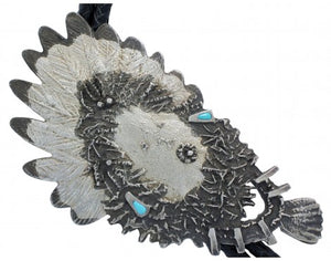 Oreland Joe, Tufa Cast Silver with Turquoise, Yei Bolo, Navajo Handwoven, 26 in