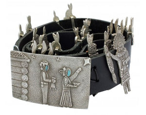 Lee Begay, Tufa Cast Silver Yei' be' Chei' Concho Belt, 49 in