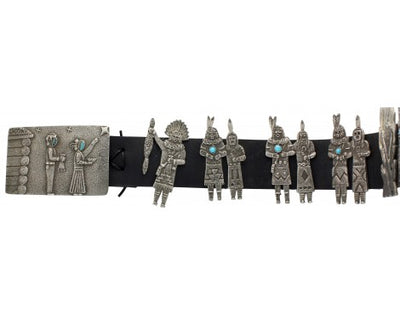 Load image into Gallery viewer, Lee Begay, Tufa Cast Silver Yei' be' Chei' Concho Belt, 49 in