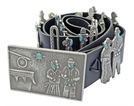 Lee Begay, Sterling and Turquoise Song and Dance Concho Belt, 47 in