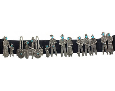Load image into Gallery viewer, Lee Begay, Sterling and Turquoise Song and Dance Concho Belt, 47 in