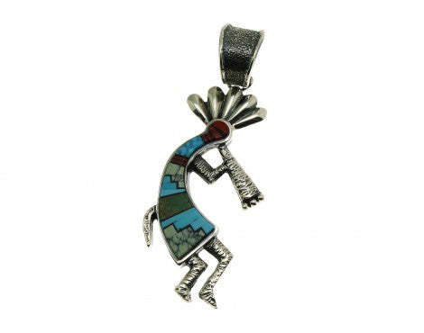 Lester James, Pendant, Multi-Stone Inlay Kokopelli, Silver, Navajo