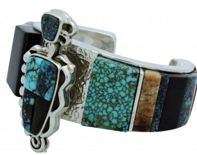 Load image into Gallery viewer, Lyndon Tsosie, Bracelet, Turquoise, Iron Wood, Coral, Navajo Handmade, 6.75 in