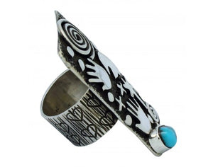 Alex Sanchez, Ring, Turquoise Mountain, Symbols, Sterling Silver, Navajo Made, 8