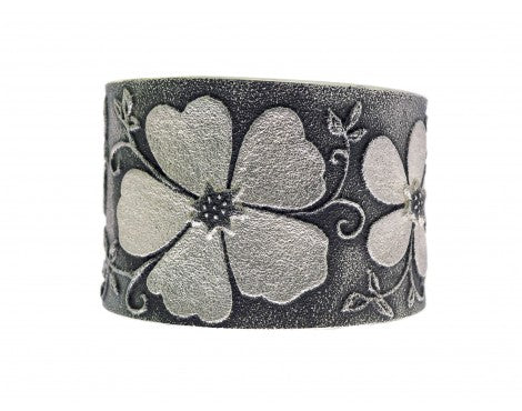 Rebecca Begay, Bracelet, Tufa Cast Art, Flower Design, Navajo Handmade, 6.25
