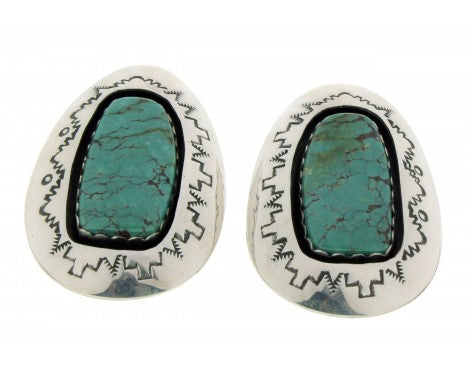 Teddy Goodluck, Shadow Box Earrings, Chinese Turquoise, Silver, Navajo, 1 3/4''