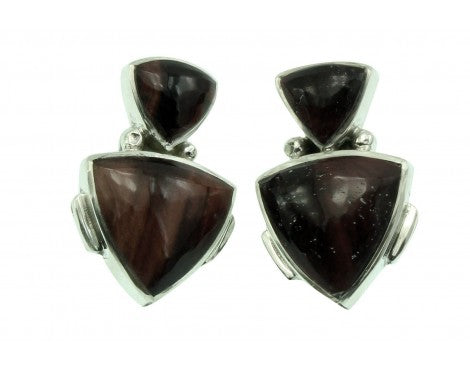 Melvin Francis, Eugene Chee, Pierced Earring, Tiger Eye, Silver, Navajo Made,1''