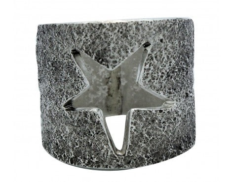 Lee Begay, Tufa Cast Wide Band, Stars, Sterling Silver, Navajo Made, 9.5