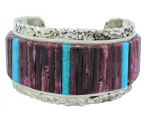 Clinton Pete, Bracelet, Inlay, Turquoise, Purple Spiny Oyster, Navajo Made, 6.75