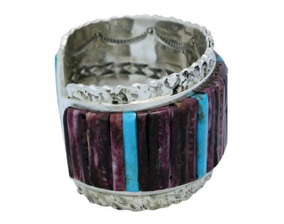 Load image into Gallery viewer, Clinton Pete, Bracelet, Inlay, Turquoise, Purple Spiny Oyster, Navajo Made, 6.75