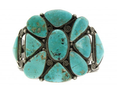 Load image into Gallery viewer, Antique Collection, Circa 1940s, Navajo, Nevada Turquoise, Silver, Handmade, 7''