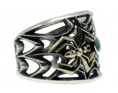 Load image into Gallery viewer, Aaron Anderson, Cast Cuff, 14k, Sterling Silver, Lone Mountain Turquoise,6 1/4''