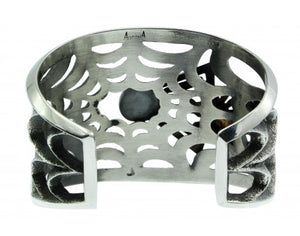 Aaron Anderson, Cast Cuff, 14k, Sterling Silver, Lone Mountain Turquoise,6 1/4''