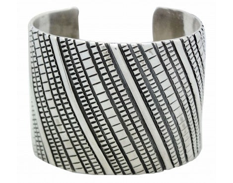 Tillie Jon, Bracelet, Wide, Overlay, Stamped Sterling Silver, Navajo Made, 7.25