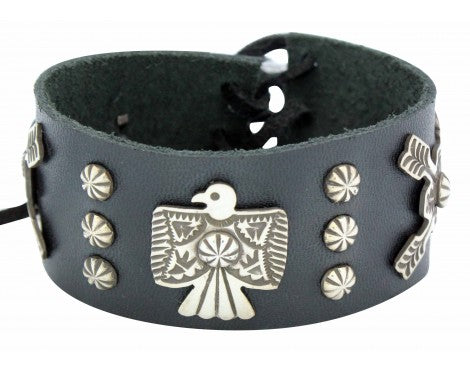 Darrell Cadman, Bracelet, Eagle, Arrows, Leather, Silver, Navajo Handmade, 6.5