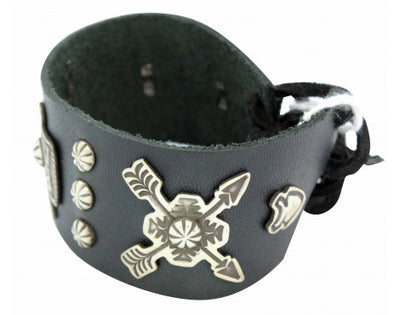 Load image into Gallery viewer, Darrell Cadman, Bracelet, Eagle, Arrows, Leather, Silver, Navajo Handmade, 6.5