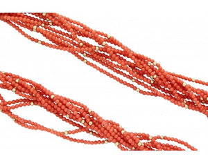 Juanita Skeets, Necklace, 10 Strands, Mediterranean Coral, 14k Gold, 23 in