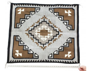 Annie Yazzie, Two Gery Hills Rug, Navajo Handwoven, 38 in x 32 in