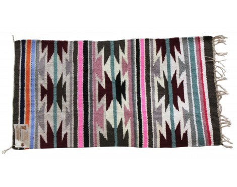 Elizabeth Cowboy, Gallup Throw Rug, Navajo Handwoven, 34 in x 18 in