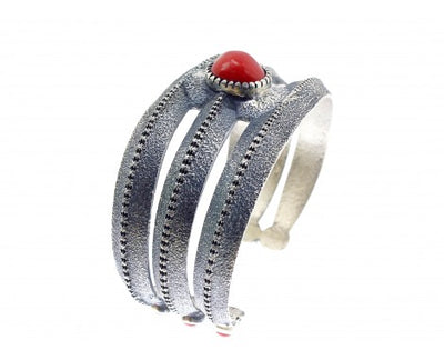 Load image into Gallery viewer, Harrison Jim, Tufa Cast Bracelet, Revival Style, Mediterranean Coral, Navajo