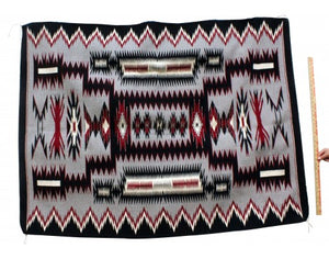 Theresa Begay, Storm Pattern, Navajo Handwoven, 49'' x 64''