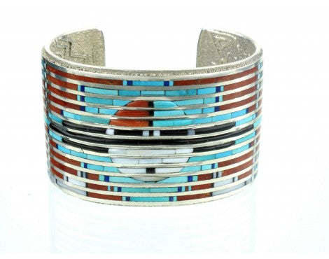 Philander Begay and Gillford Tsattie, Multi-Stone Inlay Sunface Cuff