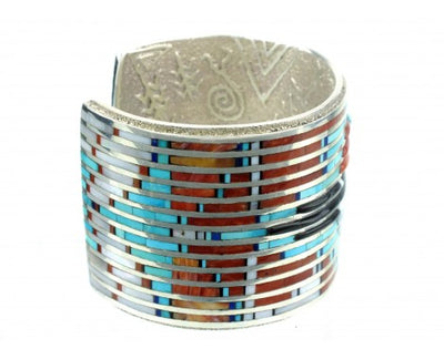 Load image into Gallery viewer, Philander Begay and Gillford Tsattie, Multi-Stone Inlay Sunface Cuff