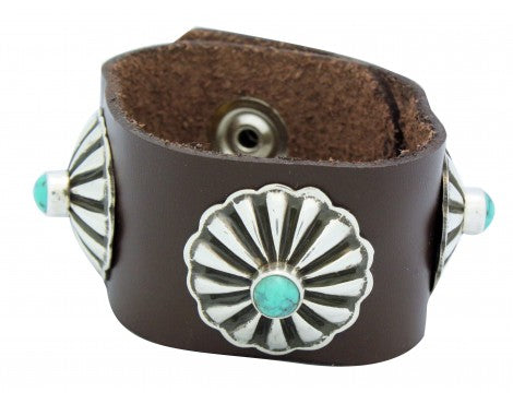 Darrell Cadman, Bracelet, Silver Conchos, Leather, Turquoise, Navajo Made, 6 in