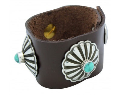 Load image into Gallery viewer, Darrell Cadman, Bracelet, Silver Conchos, Leather, Turquoise, Navajo Made, 6 in