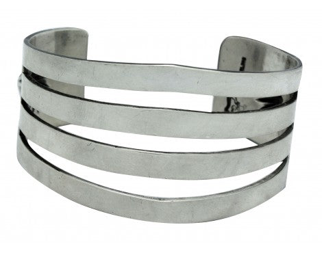 Delbert Gordon, Bracelet, Split Design, Sterling Silver, Navajo Handmade, 7 in