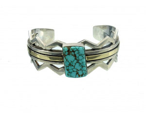 Ronnie Henry, Silver & Gold Cuff with Number Eight Turquoise