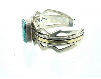 Load image into Gallery viewer, Ronnie Henry, Silver & Gold Cuff with Number Eight Turquoise