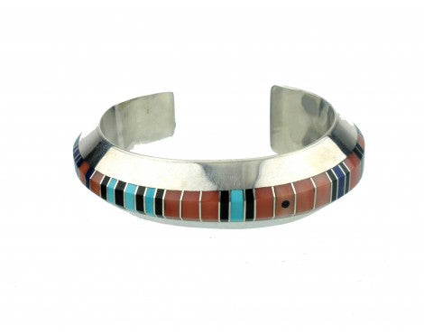 Gibson Nez, Silver with Multi-Stone Inlay Cuff, Navajo Handmade