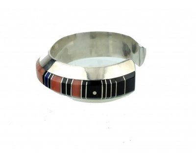 Load image into Gallery viewer, Gibson Nez, Silver with Multi-Stone Inlay Cuff, Navajo Handmade